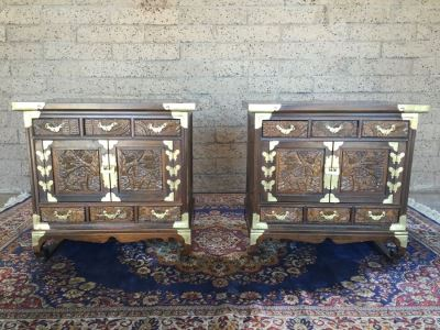 Pair Of Korean Carved Wooden Cabinets Nightstands With Brass Accents And Lock And Key