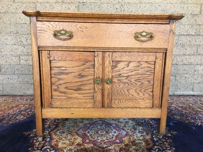 Antique Oak Cabinet Nightstand On Casters
