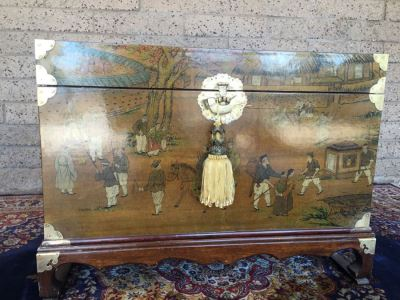 Vintage Korean Wedding Chest With Stand And Lock And Key In Excellent Condition Various Painted Scenes Throughout Cabinet Signed By Artist