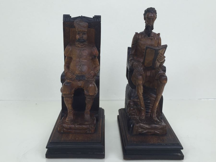 Pair Of Vintage Spainish Carved Wood Sancho Panza Amp Don