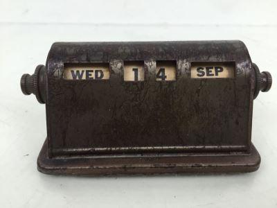 Vintage Metal Industrial Desk Calendar - Antiques, Collectible Scales, Korean, Spanish & Antique Furniture