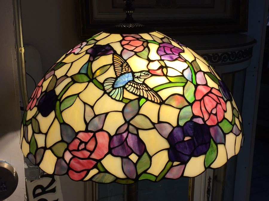 Stunning Dale Tiffany Floor Lamp With Hummingbird And Floral Motif [Photo 1]