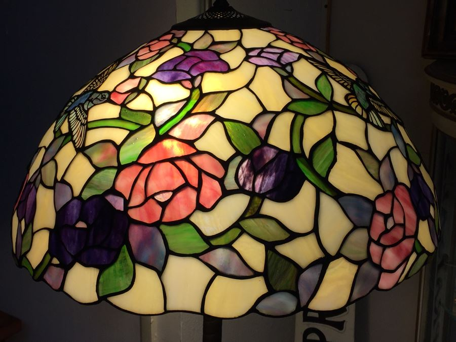 Stunning Dale Tiffany Floor Lamp With Hummingbird And Floral Motif Photo 23