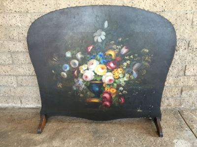 Antique Hand Painted Fireplace Screen