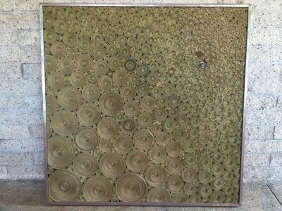 Hector Juarez Signed Modernist Industrial Corrugated Cardboard Ensemble Framed In Steel Frame