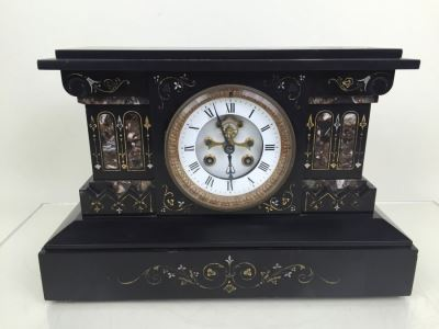 Impressive Antique Waterbury Clock Co. French Marble Open Escapement Mantle Clock