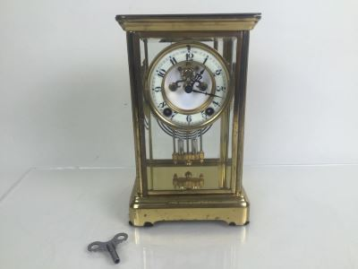 Antique New Haven Crystal Regulator Clock #436 On Dial - Open Escapement New Haven, CT Excellent Condition With Key