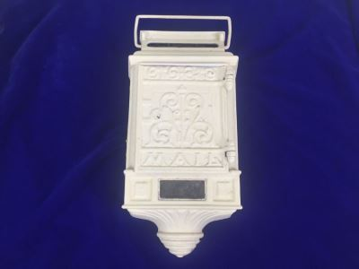 Vintage Cast Iron Metal Mailbox Letter Box Painted White