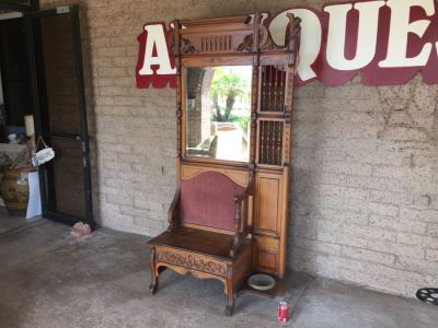 Stunning Antique Hall Tree With Nice Wood Carvings From Standard Furniture Co Seattle WA