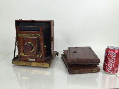 Thornton Pickard Imperial Triple Extension Half Plate Bellows Camera With Lens And (3) Plates
