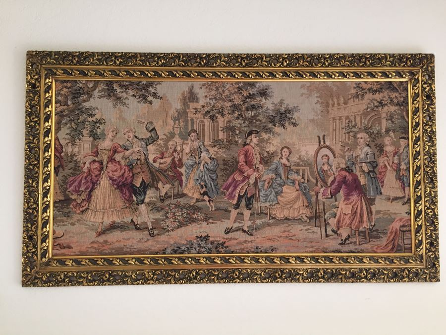 Early English Needlepoint Tapestry In Nice Gilt Frame [Photo 1]