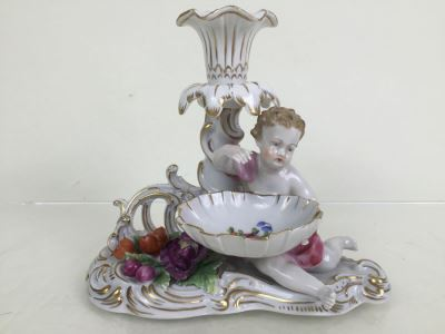 Vintage Dresden Porcelain Putto Cherub Floral Candle Holder With Bowl Dish Saxon