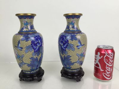 Pair Of Vintage Chinese Cloisonne Vases With Stands