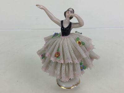 Vintage Frankenthal Porcelain Dresden Art Ballerina Figurine Lace