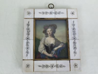 Antique 1871 Miniature Hand Painted Portrait Of Elisabeth Philippine Marie Hélène de France Signed Granza?