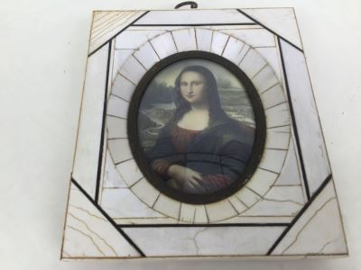 Antique Miniature Hand Painted Portrait Of Mona Lisa Signed By Artist