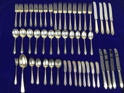 Sterling Silver Flatware Set By International With Silver Storage Cloths 1,438g Sterling Flatware + 112g Sterling From Knife Handles = 1,550g = $808 Melt Value