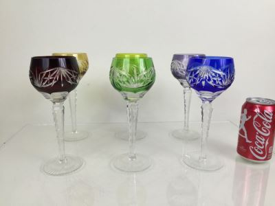 Set Of 6 Colored Cut Crystal Stemware