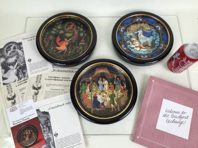 Set Of 3 Limited Edition Bradford Exchange Russian Plates With Frames For Wall Display