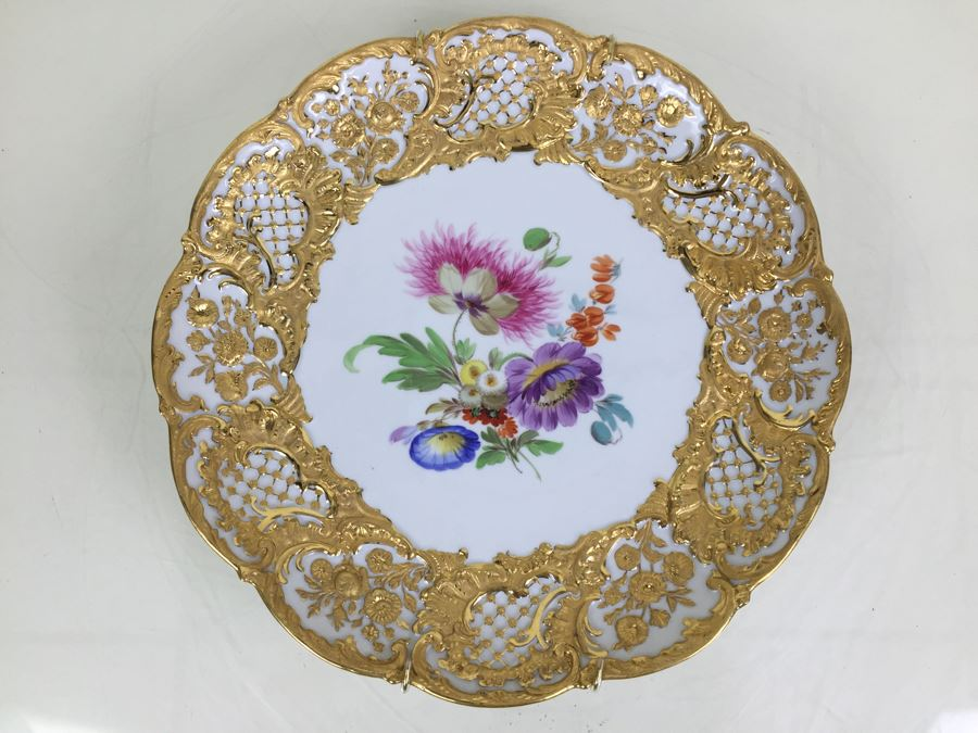Stunning Vintage Meissen Porcelain Large Gold High Relief With Floral Pattern Plate Germany [Photo 1]