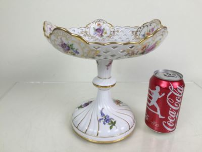 Stunning Vintage Meissen Porcelain Reticulated Compote Germany Gilt With Floral Motif