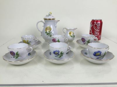 Nice Vintage Meissen Coffee Tea Service With Teapot, Creamer Bowl And 6 Meissen Cups With Saucers Germany Hand Painted Floral Motif
