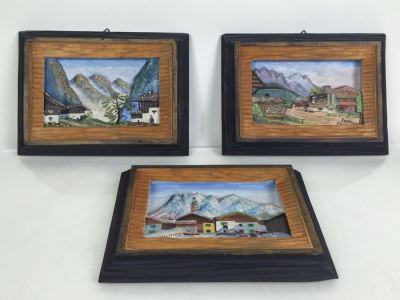 Set Of 3 Wood Carvings And Hand Painted European Austria Germany Landscapes Signed By Artist Paul Mochn? 1950's