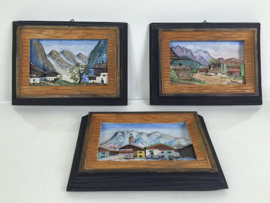 Set Of 3 Wood Carvings And Hand Painted European Austria Germany Landscapes Signed By Artist Paul Mochn? 1950's [Photo 1]