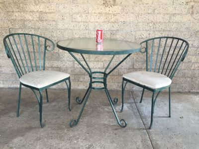 Vintage Wrought Iron Outdoor Patio Table With Two Chairs