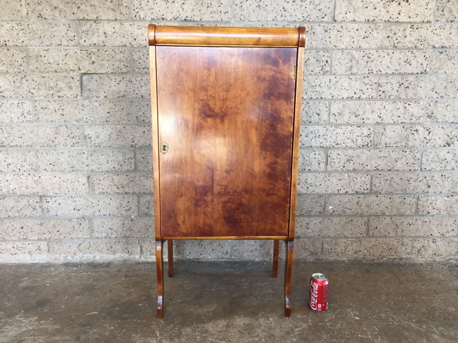 Stunning Vintage Liquor Bar Cabinet With Lock And Skeleton Key With Brilliant Red Streaks Throughout Wood [Photo 1]