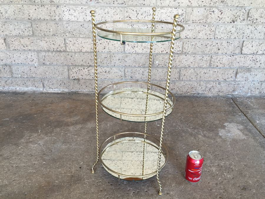 Vintage 3-Tier Twisted Gilt Metal Shelf With Mirrored Shelves [Photo 1]