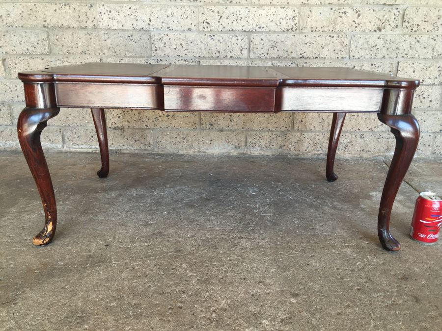 Vintage Queen Anne Rectangular Coffee Table With Leather Top [Photo 1]