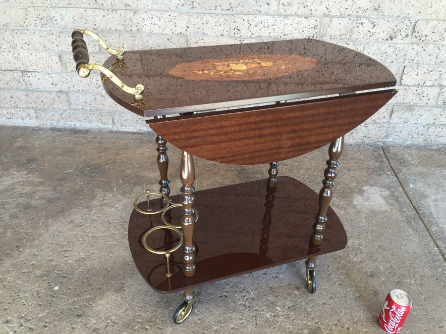 Vintage Italian Inlaid Marquetry Wood Serving Bar Tea Cart Drop Leaf Gorgeous [Photo 1]