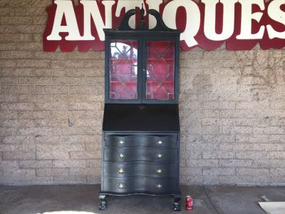 Nice Vintage Secretary Desk Painted Black And Red With Ball And Claw Feet