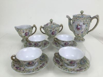 Ornate Japanese L R Nippon Tea Coffee Set