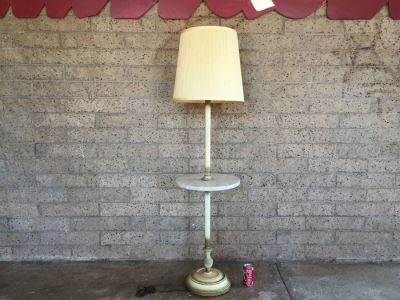 White Italian Floor Lamp With Italian Marble Table