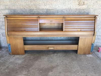 John Van Koert For Drexel Mid-Century 1959 Projection King Size Headboard With Storage Matches Bedroom Set In Auction