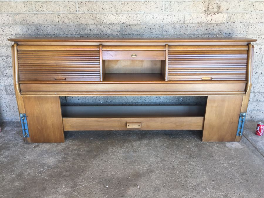 John Van Koert For Drexel Mid-Century 1959 Projection King Size Headboard With Storage Matches Bedroom Set In Auction [Photo 1]