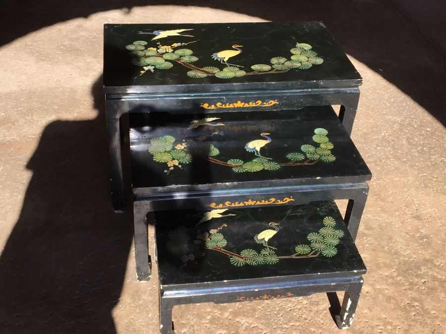 Set Of Hand Painted Chinese Nesting Tables Black Lacquer [Photo 1]
