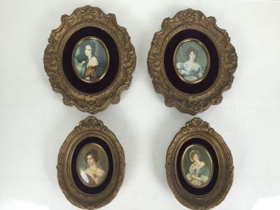 Set Of 4 Vintage Framed Portrait Prints By A Cameo Creation