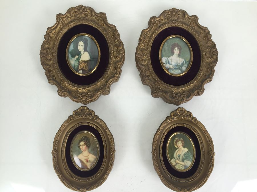Set Of 4 Vintage Framed Portrait Prints By A Cameo Creation [Photo 1]