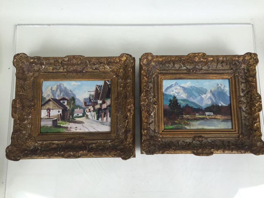 Pair Of Nicely Executed Original Oil Paintings On Board In Vintage Gilt Frames Signed By Artist Signature Illegible Munchen Germany [Photo 1]