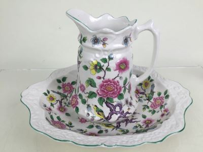 Antique Old Foley James Kent LTD Wash Bowl and Pitcher Chinese Rose From England