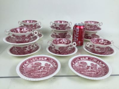 (10) Spode's Tower Copeland England Red Transferware Cups And Saucers Double Handle