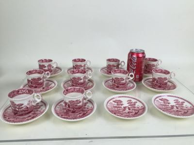 (10) Spode's Tower Copeland England Red Transferware DEMITASSE Cups And Saucers