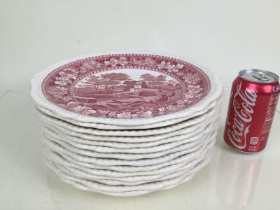 (14) Spode's Tower Copeland England Red Transferware Dinner Plates