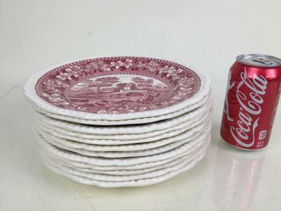 (12) Spode's Tower Copeland England Red Transferware Plates