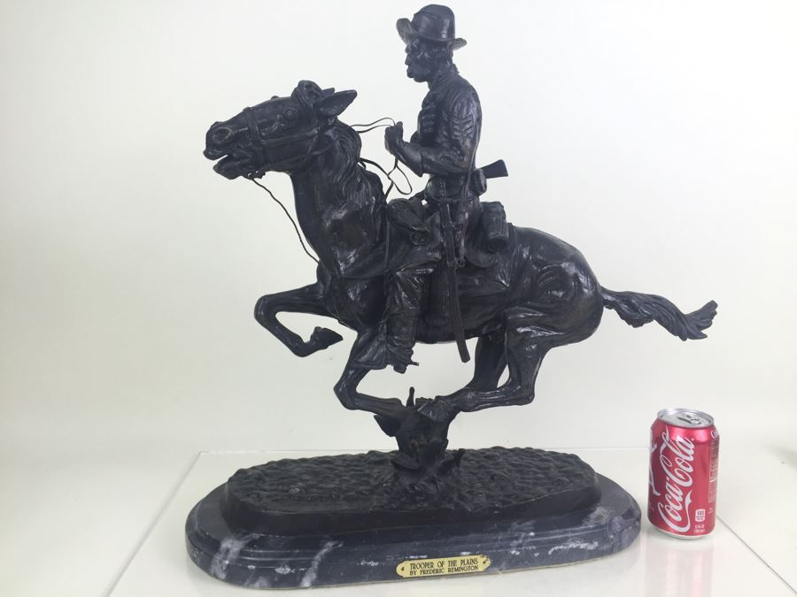 Trooper Of The Plains By Frederic Remington Bronze Statue Limited Edition 1 Of 100 [Photo 1]