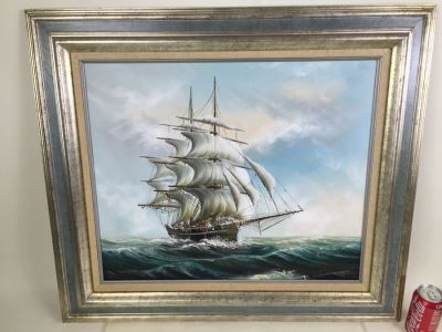 Original Oil Painting Of Large Sailing Ship On Rough Seas Signed By Artist Hayden