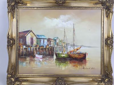 Original Oil Painting Of Ships In The Harbor Signed By Artist